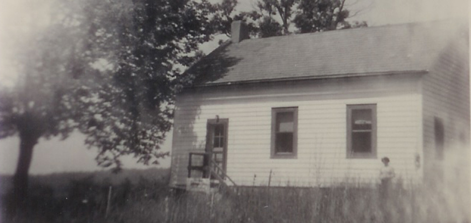 Schoolhouse when first converted to a home, around 1950. Image from Mr. R and Mrs. M. Ivey
